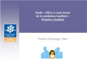 Effets à court terme de la Médiation Familiale - Premiers résultats 2013